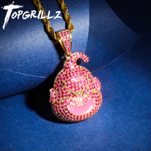TOPGRILLZ Dragon Ball Character Kid Buu Pendant Necklace Iced Out Cubic Zircon Hip Hop Gold Silver Color Men Charm Chain Jewelry