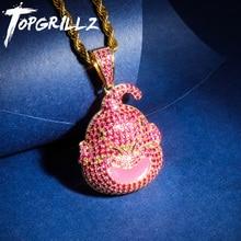 TOPGRILLZ ドラゴンボールのキャラクターの子供ブウペンダントネックレスアイスアウト立方ジルコンヒップホップゴールドシルバーカラーの男性のチャームチェーンジュエリー