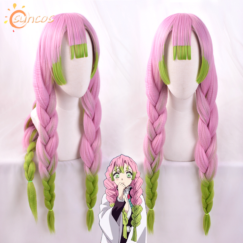 Blade Of Demon Slayer Kanroji Mitsuri Gradient Color Hair Cosplay Wig Kimetsu No Yaiba Pink Mixed Green Role Play Facial Braid