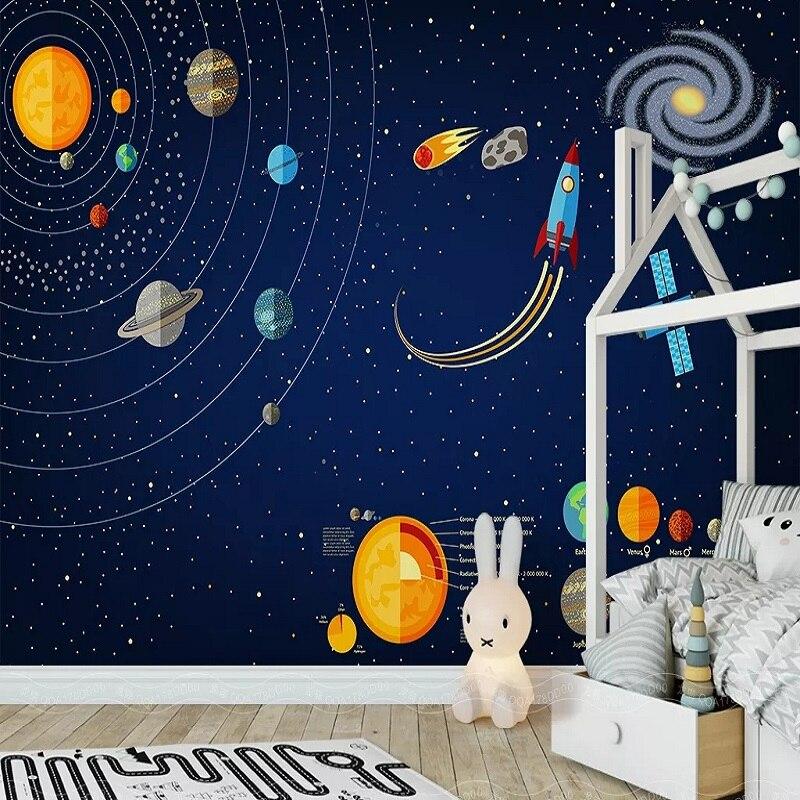 New Custom Large Mural 3D Wallpaper Cartoon Starry Sky Universe Children's Bedroom Mural TV Back Wall Decor Deep 5D Embossed