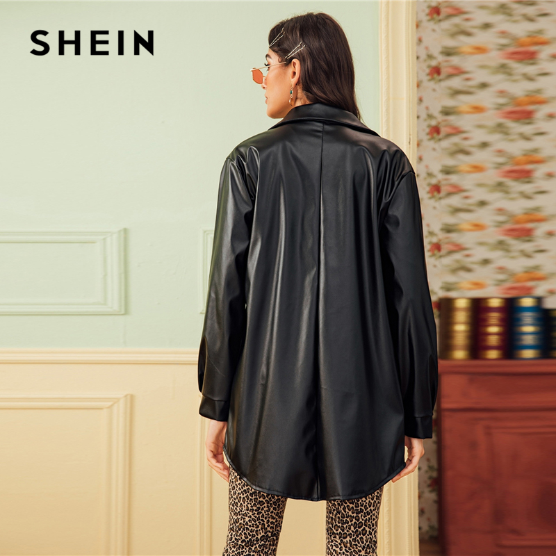 SHEIN Black Dual Pocket Button Front Belted Casual PU Coat Women 2019 Autumn Streetwear Faux Leather Long Sleeve Outwear Coats 2