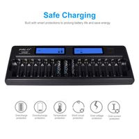 1Set 16 Slot Smart AA AAA NiMH NiCD Rechargeable Battery Charger with LCD Screen with Wall Adapter