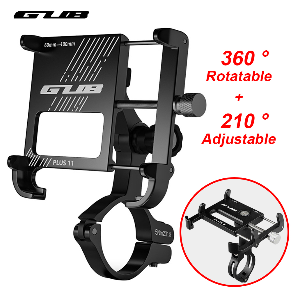 """GUB Aluminum Bicycle Phone Holder MTB Road Bike Phone Holder Motorcycle USB Power Support Handlebar Clip Stand For 3.5"""" to 7.5"""""""