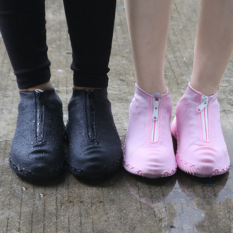Classic Black Reusable Shoe Covers Waterproof Galoshes Rubber Boots Women Anti-slip Covers for Shoes Men Silicone Paired Covers