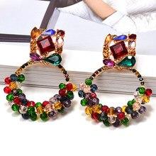 Nuovo Geometriche Colorate di Strass Ciondola Orecchini A Pendaglio di Alta-qualità di Perline Accessori Dei Monili Per Le Donne All'ingrosso