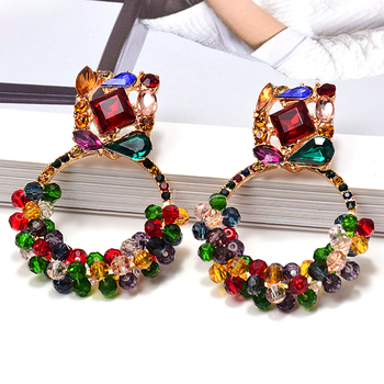 New Geometric Colorful Rhinestone Dangle Drop Earrings High-Quality Crystals Beads Jewelry Accessories For Women Wholesale za new bird shaped colorful rhinestone metal long dangle drop earrings fine crystals chain tassels jewelry accessories for women
