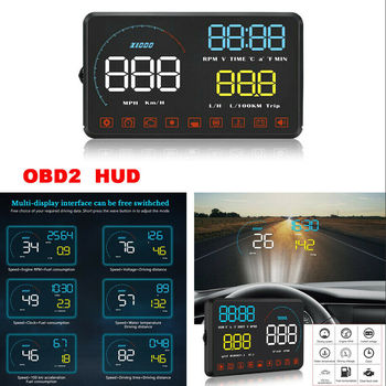 OBD2 HUD Over Speed Alarm Driving Time Car Head Up Display Windscreen Projector Alarm System Universal Auto