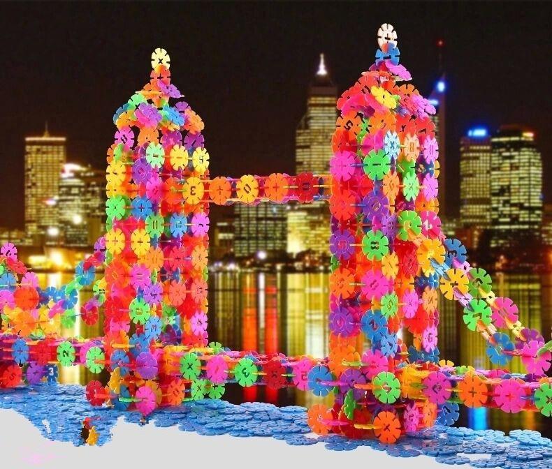 200 шт., детские игрушки для малышей, разноцветные строительные блоки, снежинка, креативные развивающие строительные пластиковые игрушки, утолщенные 2 мм