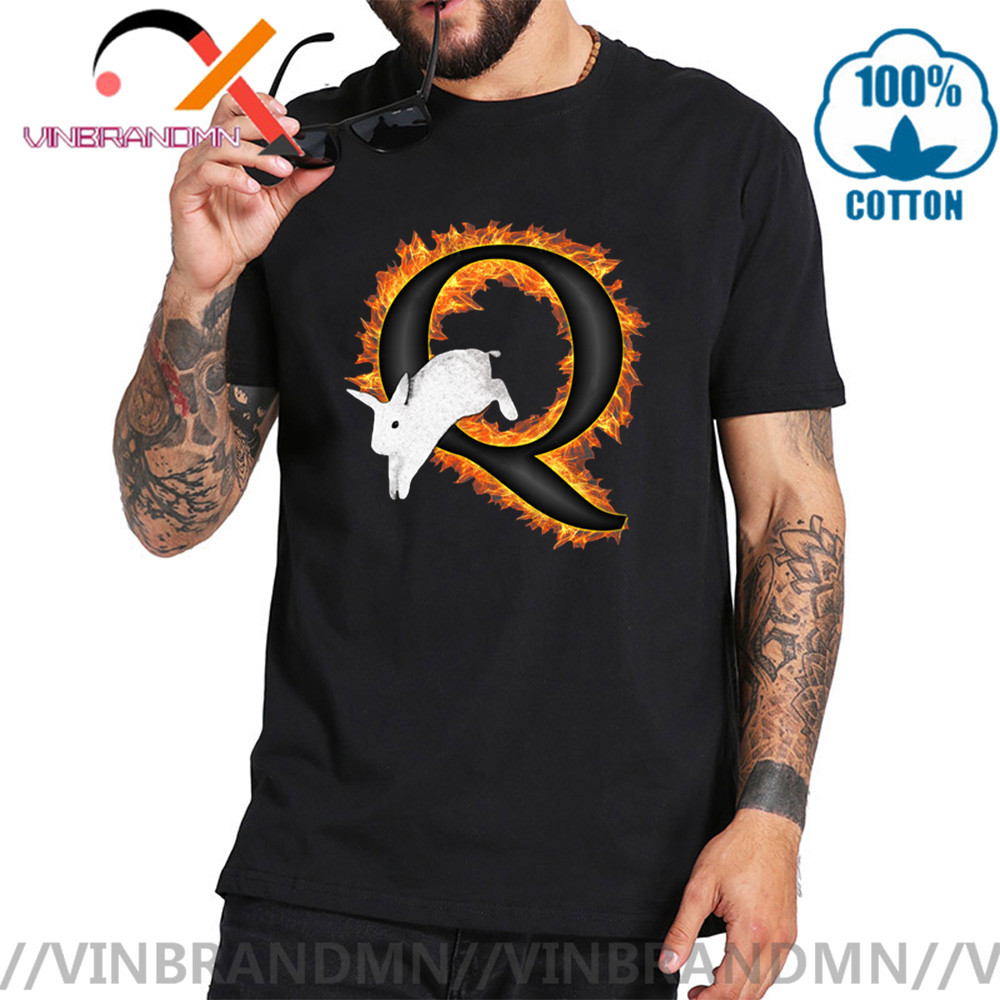 QAnon Freedom Movement T shirt men Flame Q <font><b>Follow</b></font> The White Rabbit T-shirt hombres tshirt cool man summer Q Anon tee shirt homme image