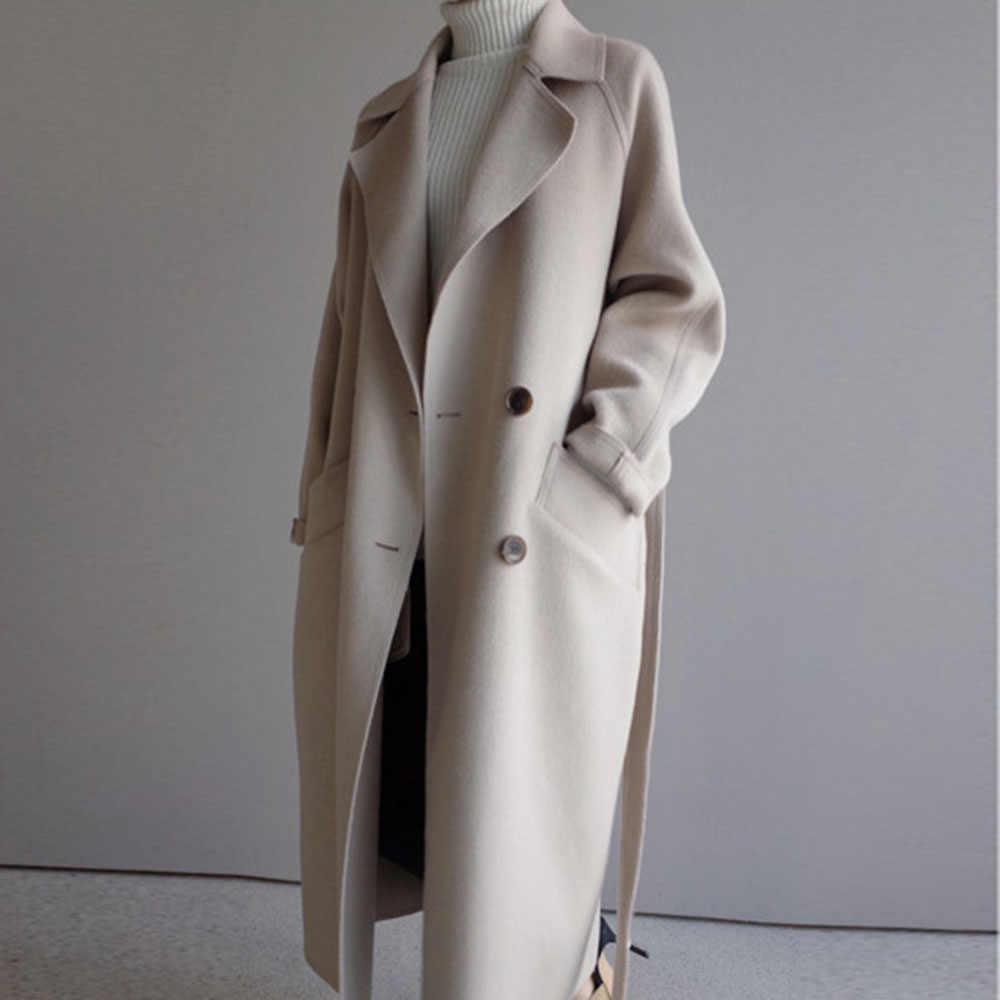 Musim Dingin Beige Elegan Wol Mantel Wanita Korea Fashion Hitam Panjang Mantel Vintage Minimalis Wol Mantel Unta Kebesaran Lebih Tahan Dr