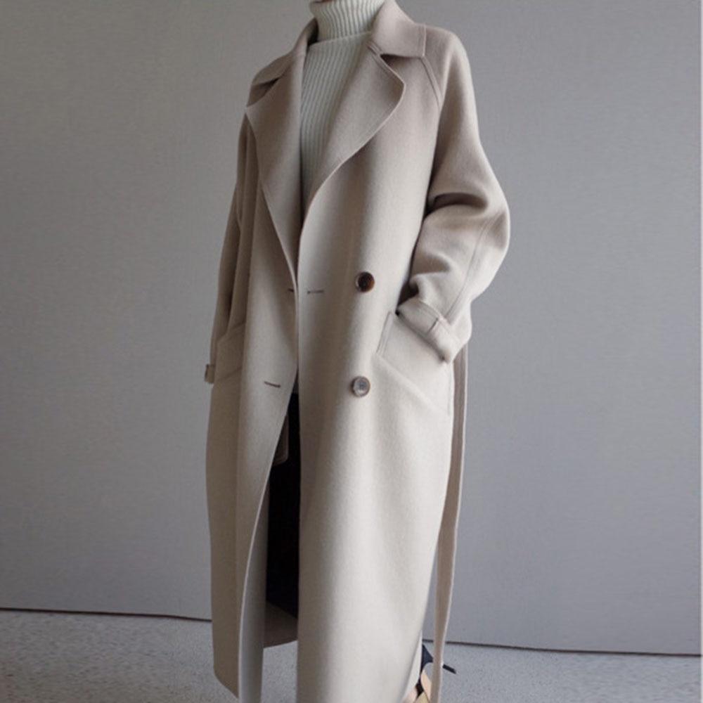 Winter Beige Elegant Wool Blend Women Korean Fashion Black Long Coats Vintage Minimalist Woolen Overcoat Camel Oversize Outwear