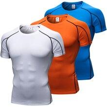 Качественная быстросохнущая Мужская футболка для кроссфита, для спортзала, Мужская Рашгард, спортивная одежда, компрессионный Топ для фитнеса, для бега, Спортивная рубашка для мужчин