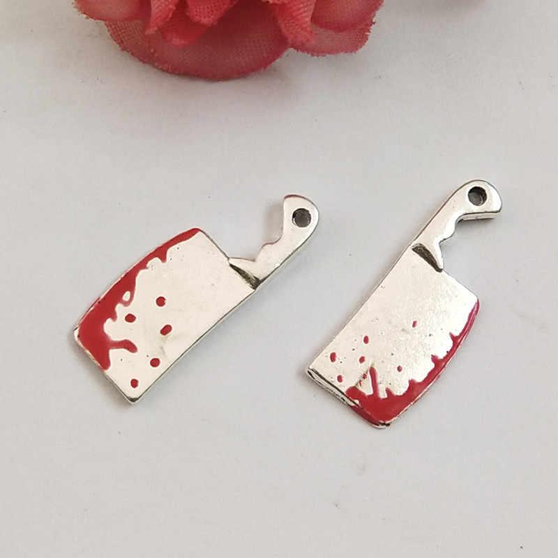 10 adet cadılar bayramı çinko alaşım gümüş renk şef Cleaver takılar mutfak bıçağı kolye DIY bileklik bilezik bulguları