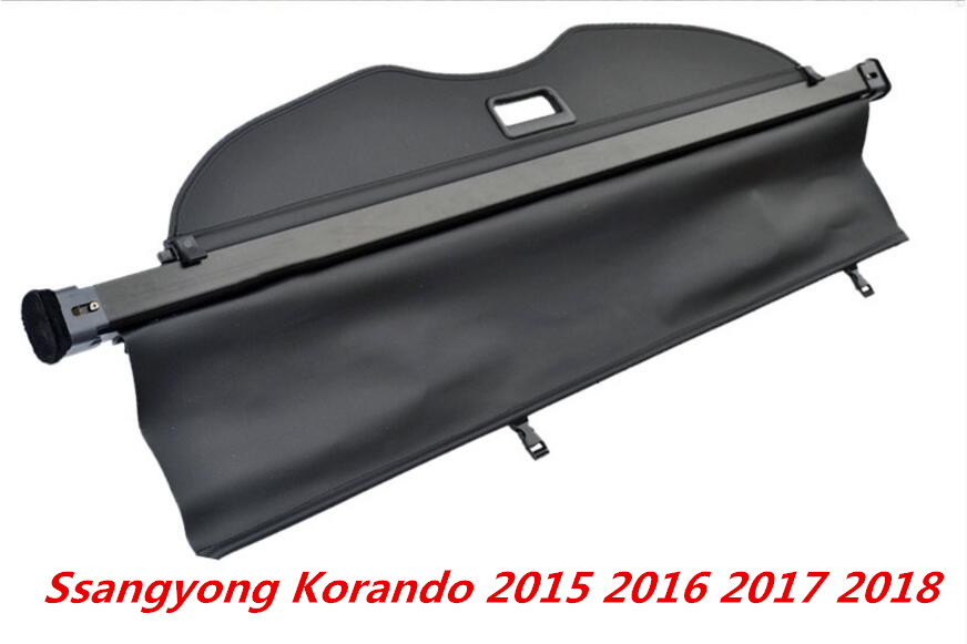 High quality Car Rear Trunk Security Shield Cargo Cover For 16-18 Ssangyong Korando 2015 2016 2017 2018 ( black, beige) image