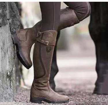 Fashion Women Knee High Boots Bandage Gladiator Shoes Thigh High Combat Low Heel Flat Botas Mujer Invierno D324