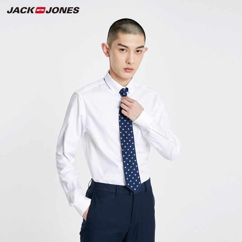 Мужская Базовая деловая Удобная рубашка с длинными рукавами из 100% хлопка JackJones | 219105524