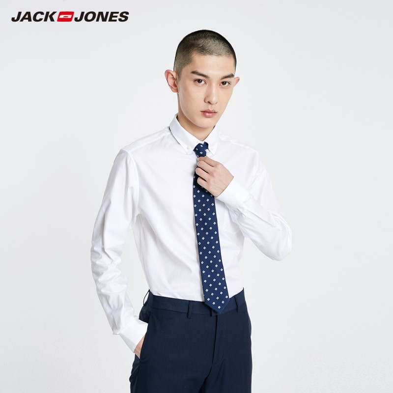 JackJones Men's Basic Business Comfortable 100% Cotton Long-sleeved Shirt| 219105524