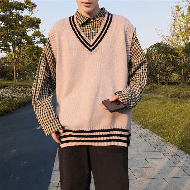 Men V-neck Cotton Sweater Vest Patchwork Spacious Sleeveless Perfect Quality Fashion Clothes Casual Knitted Wool Jumper Coat