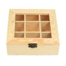 Деревянный чайный мешок, органайзер для ювелирных изделий, коробка для хранения, 9 отсеков, чайный ящик, органайзер, деревянный пакет сахара, контейнер