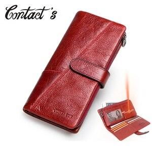Image 1 - 연락처 100% 정품 가죽 지갑 여성 긴 동전 지갑 Hasp 디자인 클러치 백 무료 조각 카드 홀더 지갑 Cartera