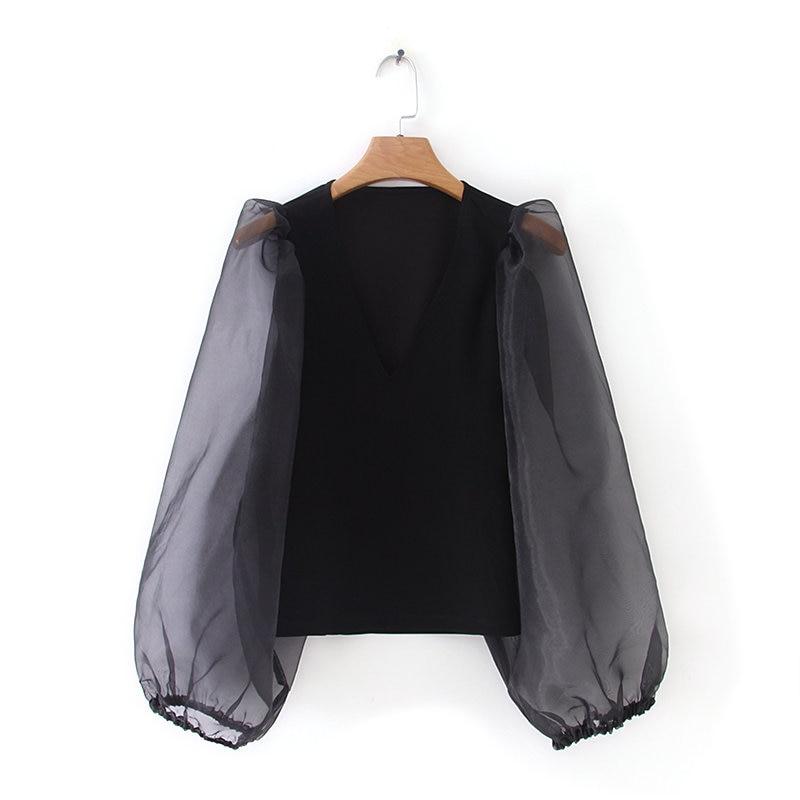 Nova moda feminina v neck organza lanterna manga patchwork preto blusas Camisa roupas femininas das mulheres simples camisa chemise LS3942