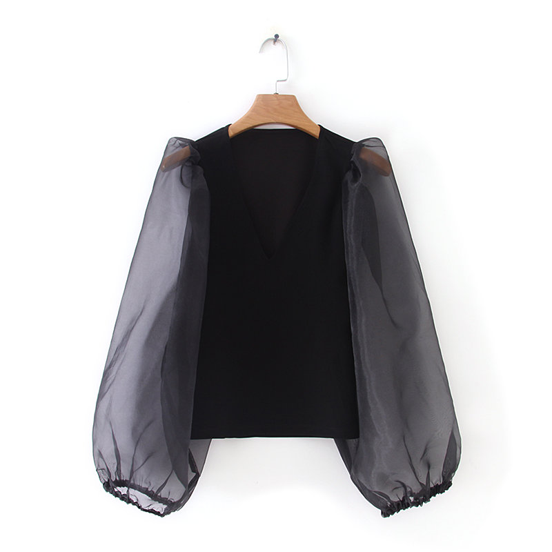 New Women Fashion V Neck Organza Lantern Sleeve Patchwork Black Shirt Blouses Women Simple Roupas Femininas Chemise Shirt LS3942