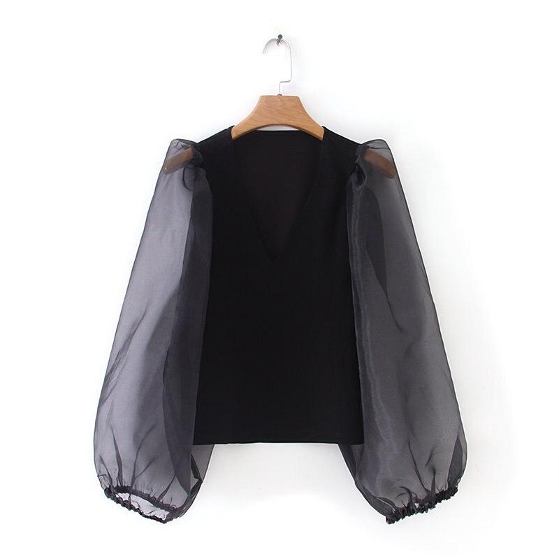 New Women Fashion V Neck Organza Lantern Sleeve Patchwork Black Shirt Blouses Women Simple Roupas Femininas Chemise Shirt LS3942