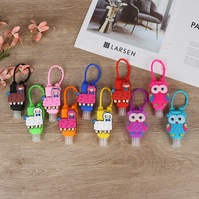 New Hand Sanitizer Silicone Set Children Cartoon Owl Alpaca Series 30 Ml Travel Portable Hand Sanitizer Bracket