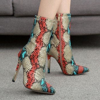 High Pointed Elastic Boots Stiletto Boot Sexy Women Sexy Snake Stocking Sock Shoes Pumps