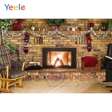 Yeele Christmas Backdrop Tree Fireplace Fire Baby Birthday Party Customized Photocall Photography Background For Photo Studio