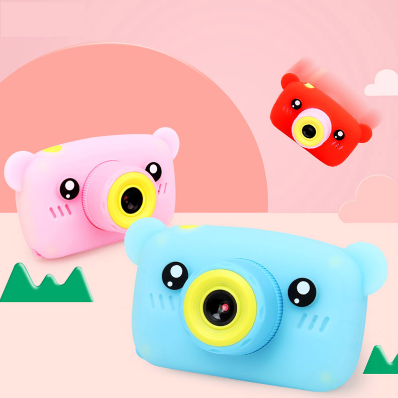 Cute Bears Electronic Digital Camera Toys For Kids Birthday Gifts Mini 1080P Projector Video Cameras Girls Boys Educational Toys