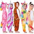 Зимние фланелевые мягкие теплые кигуруми в виде единорога пижамы с капюшоном в виде животных Мультяшные пижамы для мальчиков пижамы в виде ...