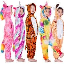 Inverno flanela macio quente unicórnio kigurumi pijamas com capuz animal dos desenhos animados meninos pijamas unicórnio pijamas para meninas crianças pijamas