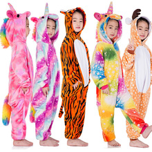Winter Flannel Soft Warm Unicorn Kigurumi Pajamas Hooded Animal Cartoon Boys Pyjamas