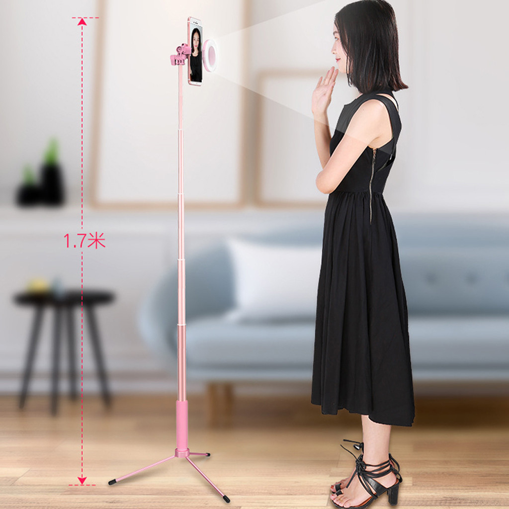 Extendable bluetooth Selfie Stick with LED Ring Fill-Light Foldable Live Tripod