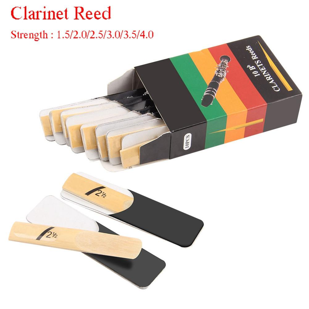 10pcs Clarinet Reeds Set Bb Tone Strength 1.5/2.0/2.5/3.0/3.5/4.0 Wind Instrument Reed Instrument Parts For Saxophone