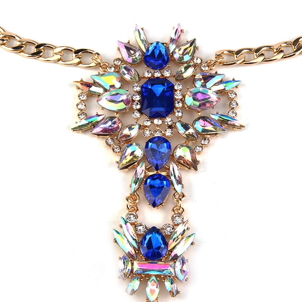 Sexy Blue Rhinestone Flower Pendant Statement Bikini Body Chain Harness