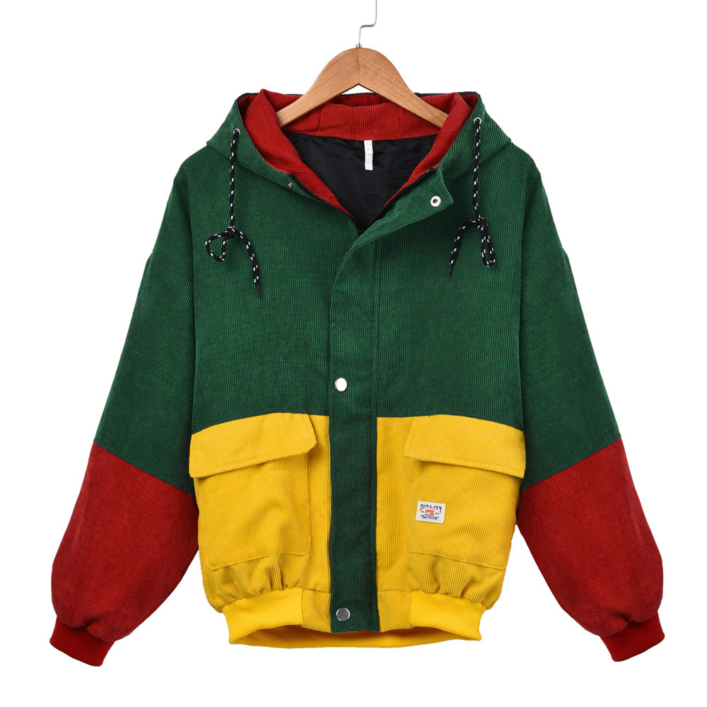 Windbreaker Coat Blouse Oversize Jacket Corduroy-Patchwork Women's Ladies Long-Sleeve title=