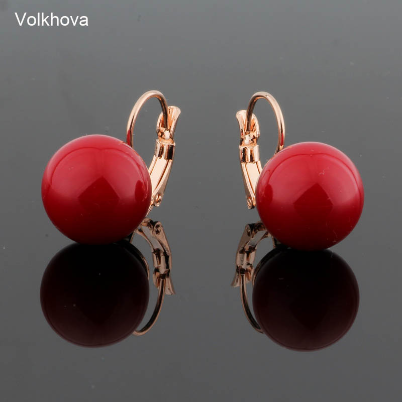 Simple Round Pearl Earrings 585 Rose Gold Color Copper Drop Earrings For Women Red Colors And White Best Friends Gift