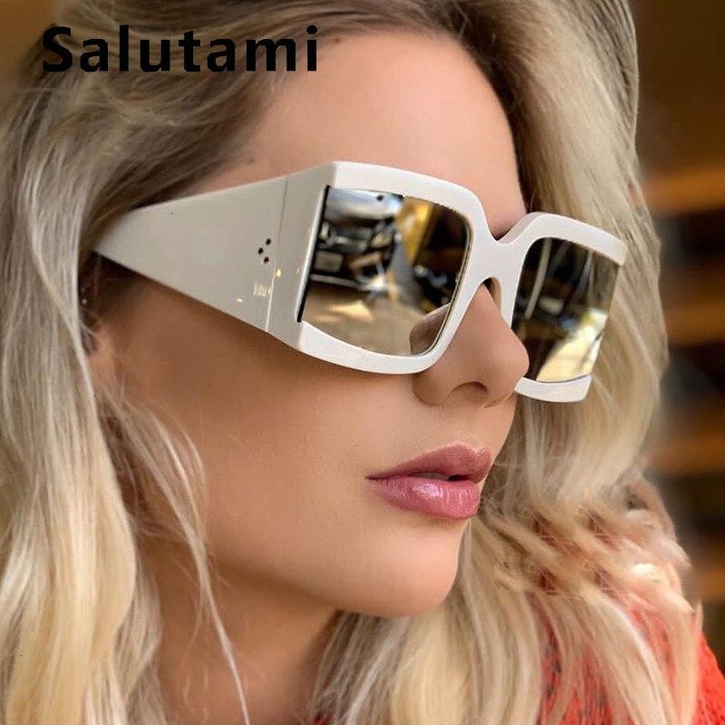 Oversize Square Brand Sunglasses For Women White Silver Mirror Rivet Sun Glasses 2019 Luxury Men Eyewear Female Vintage Wide Leg