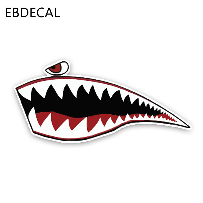EBdecal Lovely Sharks The Mouth Cartoon Colored  For Auto Car/Bumper/Window/Wall Decal Sticker Decals DIY Decor CT5415