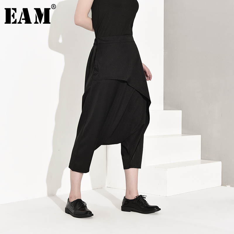 [EAM] High Elastic Waist Balck Split Joint Leisure Trousers New Loose Fit Harem Pants Women Fashion Spring Autumn 2020 JY934