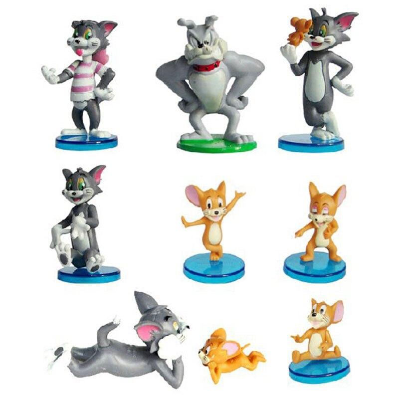 9pcs/set 3-8cm Anime Cartoon Tom Jerry PVC Action Figures Cat Mouse Models Gift For Kids