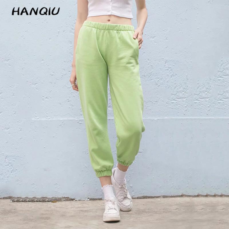 Fall 2019 Black Joggers Women Cotton Pants Elastic High Waist Pants Streetwear Sweatpants Korean Kawaii Pink Pencil Pants Pocket