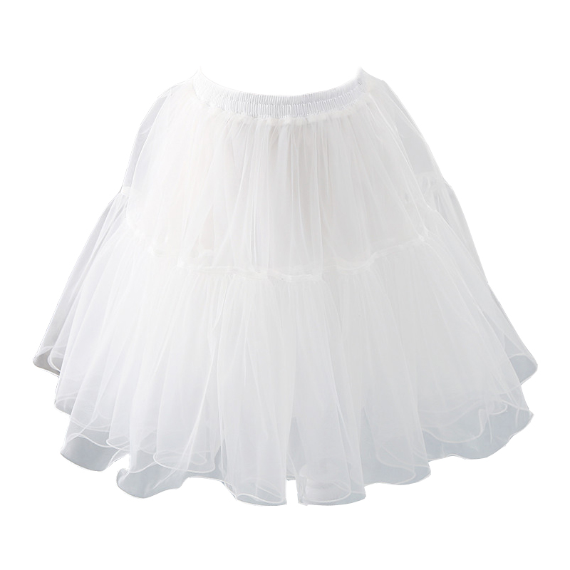 2020 Black Or White Short Petticoats For Wedding Lolita Woman Girl Underskirt Crinoline Fluffy Pettycoat Hoop Skirt Plus Size