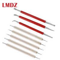 LMDZ 8 pz/set Artigianale In Pelle Strumento di Modellazione Punto Stilo Modellazione Intagliare Strumento di Spoon Palle Goffratura Intagliare Lama Presse Strumento