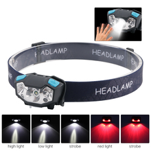 12000Lm Mini Rechargeable LED Red White Headlamp Body Motion Sensor Headlight Camping Flashlight Head Light Torch Lamp With USB