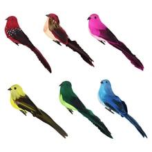 Цвета Искусственные перьевые пенные птицы с зажимом садовое дерево декор