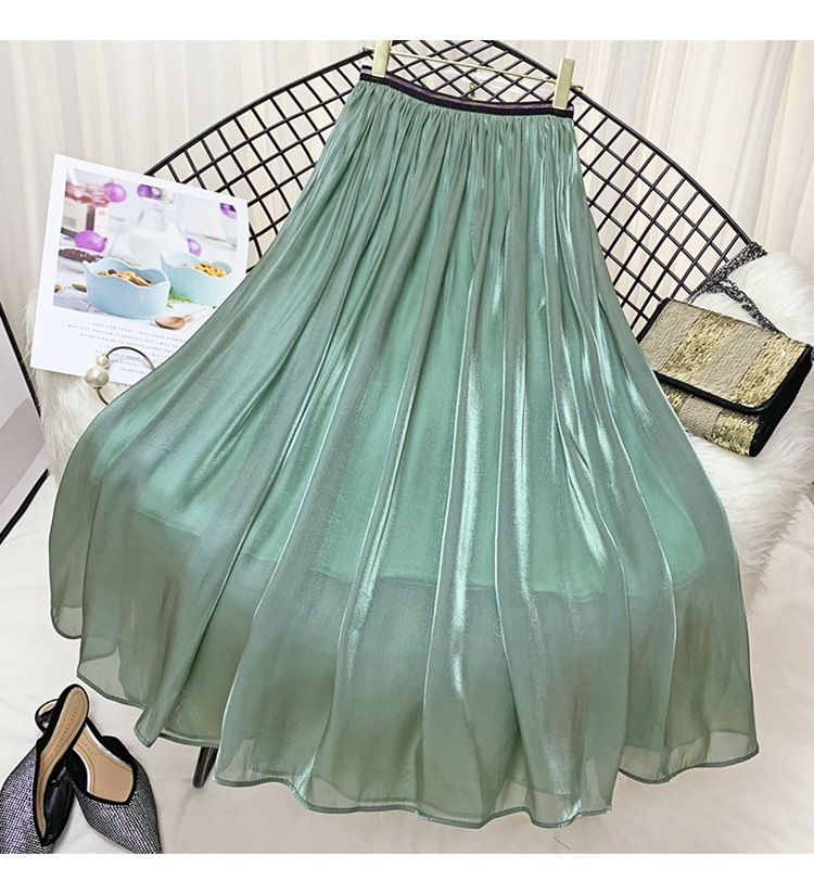 Color Waist 9075# Colour Real Belt 2019 Flash In The Summer Half-body Skirt High Quality Lining Half-body Longuette