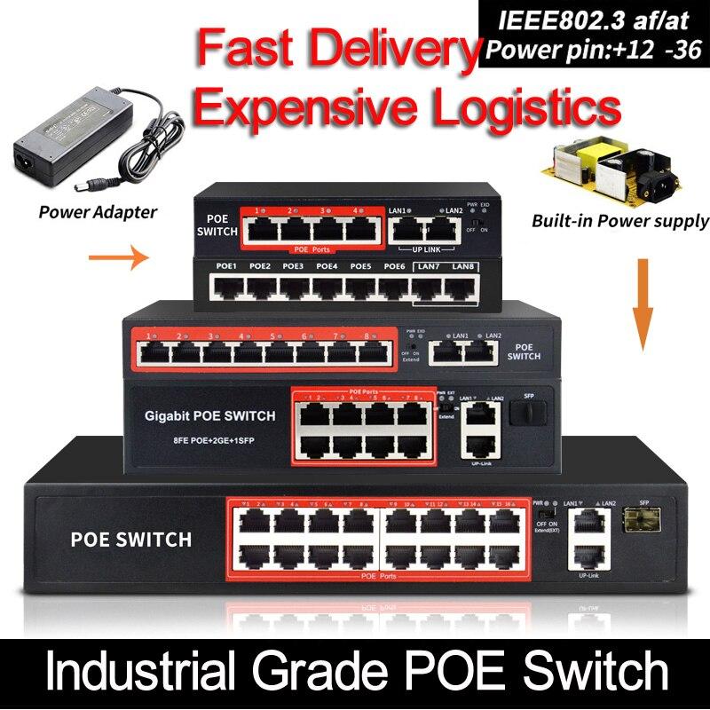 Interruptor do ponto de entrada 48 v com porto padronizado ieee 802.3 af/em 4 porto/8 ethernet do interruptor de rede do porto com 10/100 mbps para câmeras do ponto de entrada